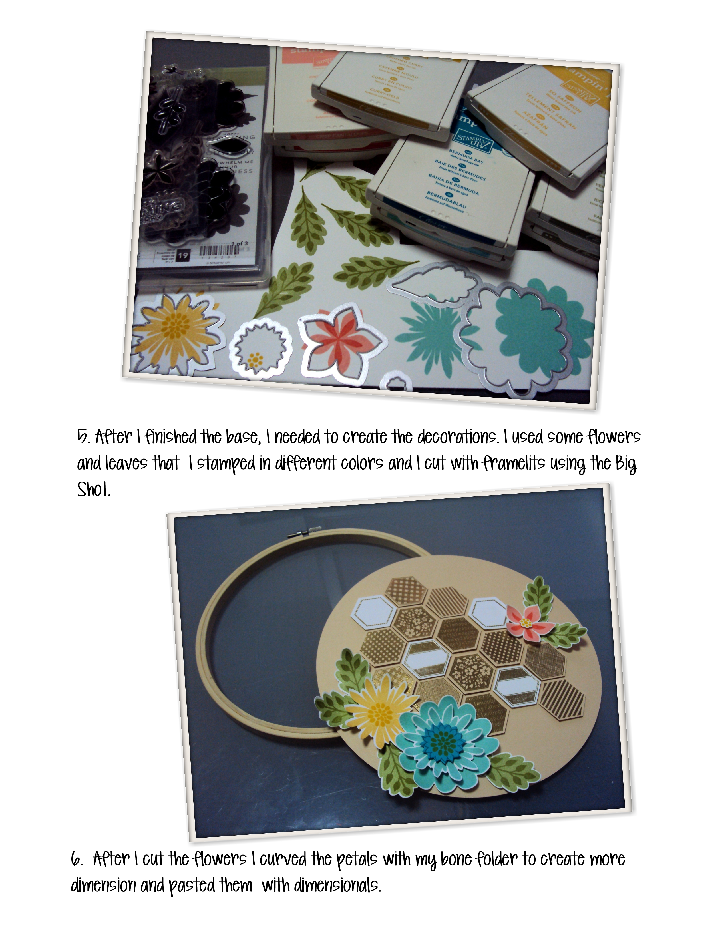 Tutorial embroidery hoop with paper stampartpapel
