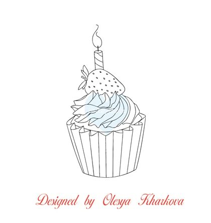 Cupcake with Strawberry Stamp