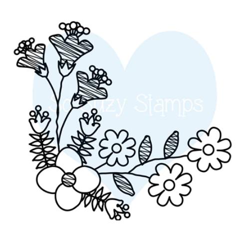 Flower Doodle Corner Stamp