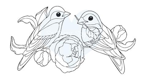 Birds on Branch Stamp