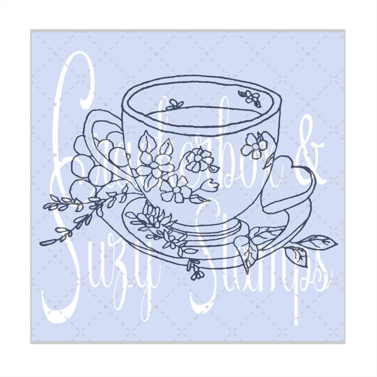 Cup with Flowers Stamp